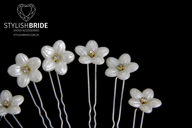 Wedding Ivory Floral Hair Pins, Pearl Hair Pins, Wedding Hair Accessories, Bridesmaid Hair Accessory, Crystal Pearl Diamante Hair Grips