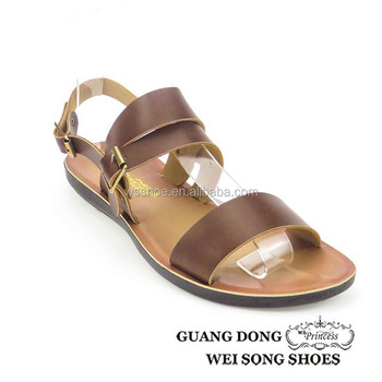 a08ea268256a china wholesale flat slingback beach sandals pu materials to make sandals