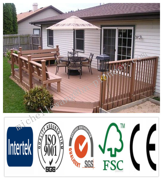 Weather resistant wood plastic composite decking WPC recycled tire flooring, ship deck flooring