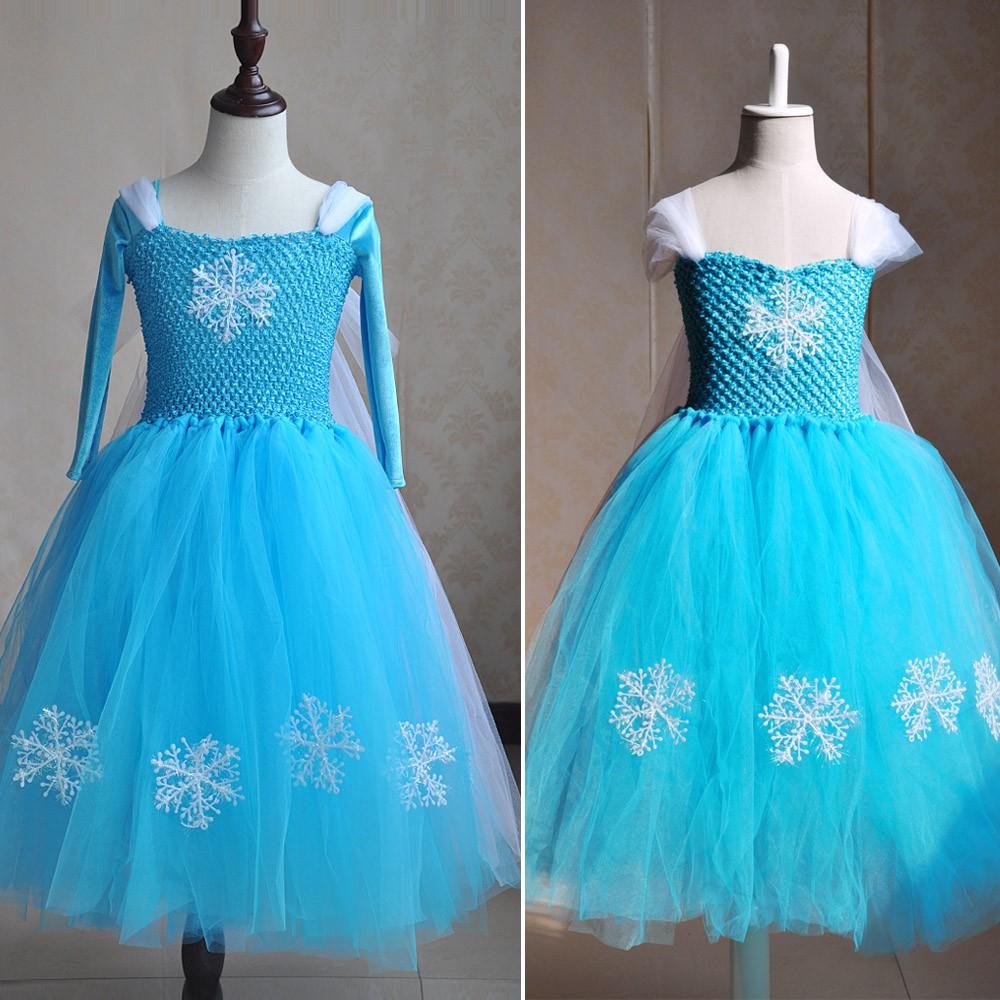 Frozen Elsa Princess Korean Velvet Long-sleeves Tutu Flower Girl ...