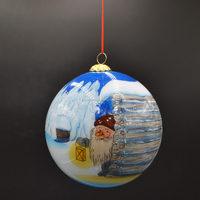 inside painted clear christmas bauble used for christmas tree or home decoration