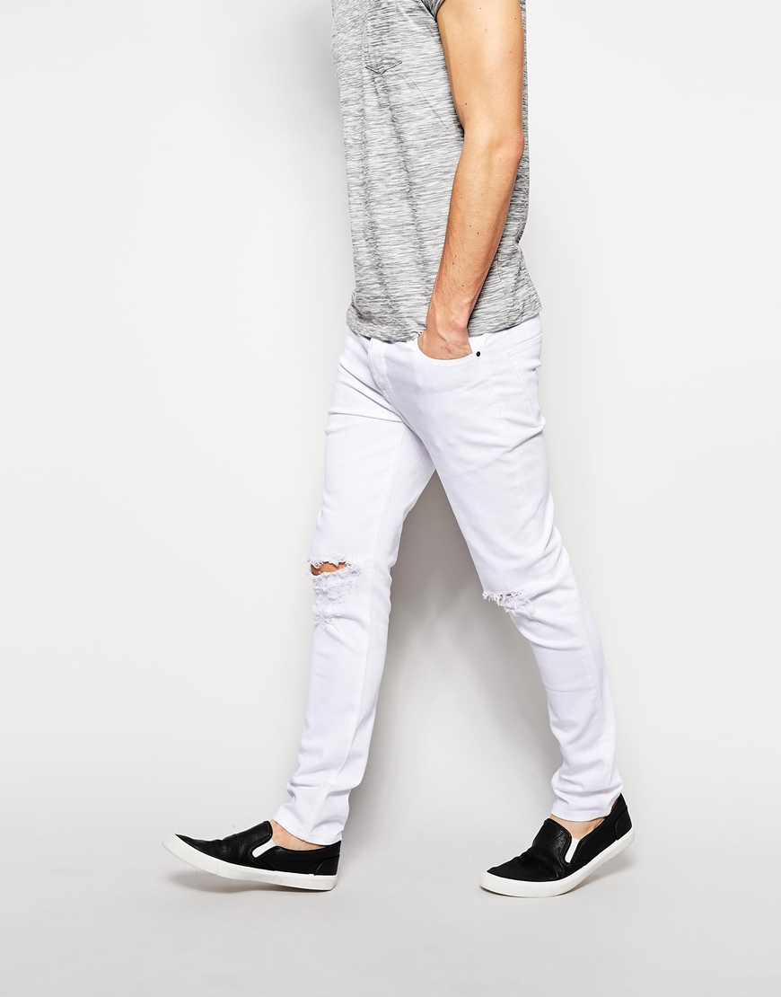 Skinny White Knee Ripped Jeans Men - Buy Ripped Jeans Men,White ...