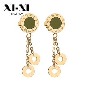 Wholesale China Factory Black Roman Numeral Double Circle Drop Earring