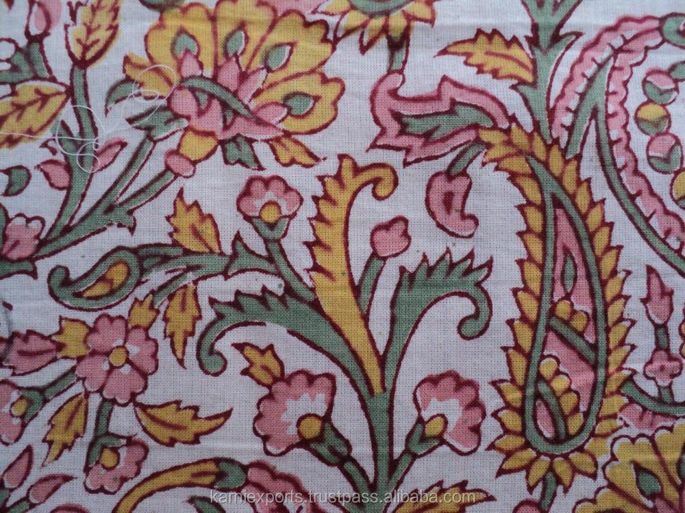 Cotton Hand Block Sanganeri Prints Fabrics Hand Made Block Design