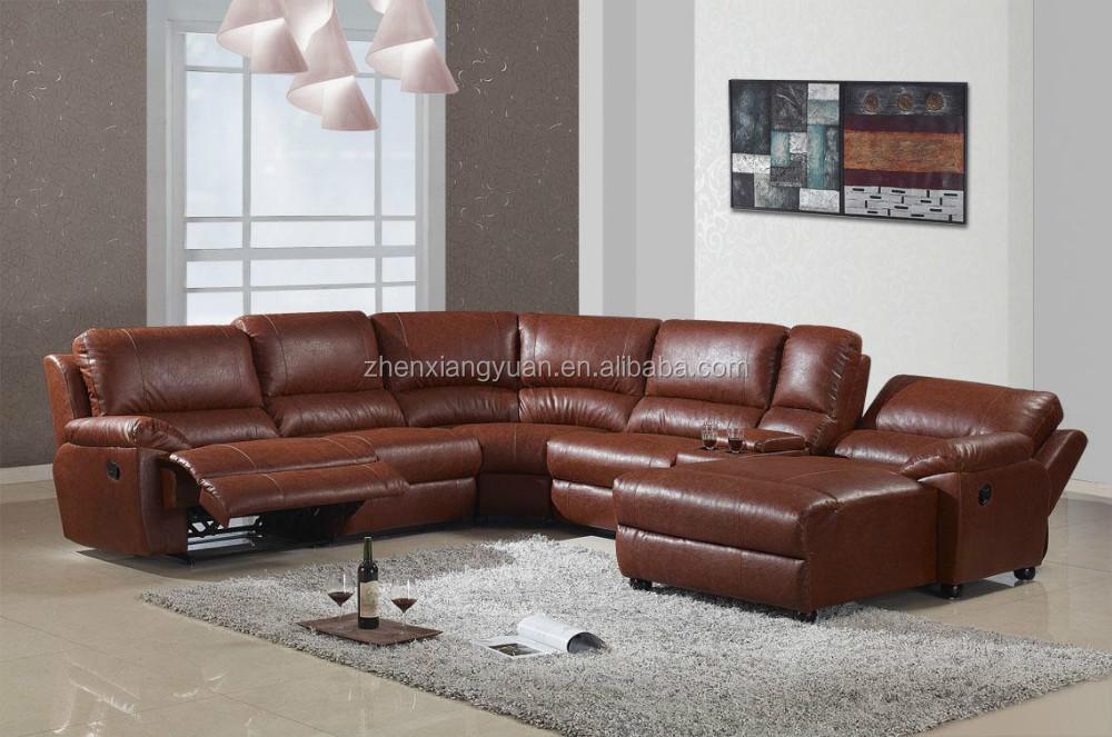 U Shape Leather Sectional Recliner Sofa