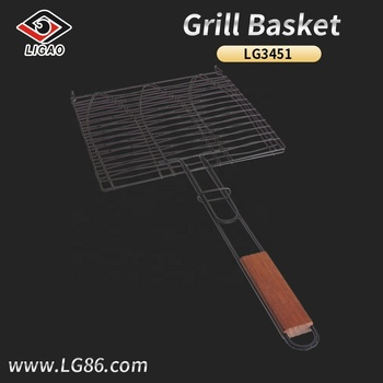 Non-stick fish basket and griller for bbq with wooden handle
