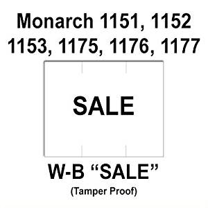 "96,000 Monarch 1151 compatible ""Sale"" White General Purpose Labels to fit the Monarch 1151, 1152, 1153, 1175, 1176, 1177, 1180 & 1202 Price Guns. Full Case + includes 16 ink rollers."