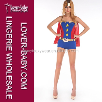 4d3ea1427 Three-piece Gold Trim Romper Star Front Gold Belt Red Cape Wonder Fancy  Dress Adult