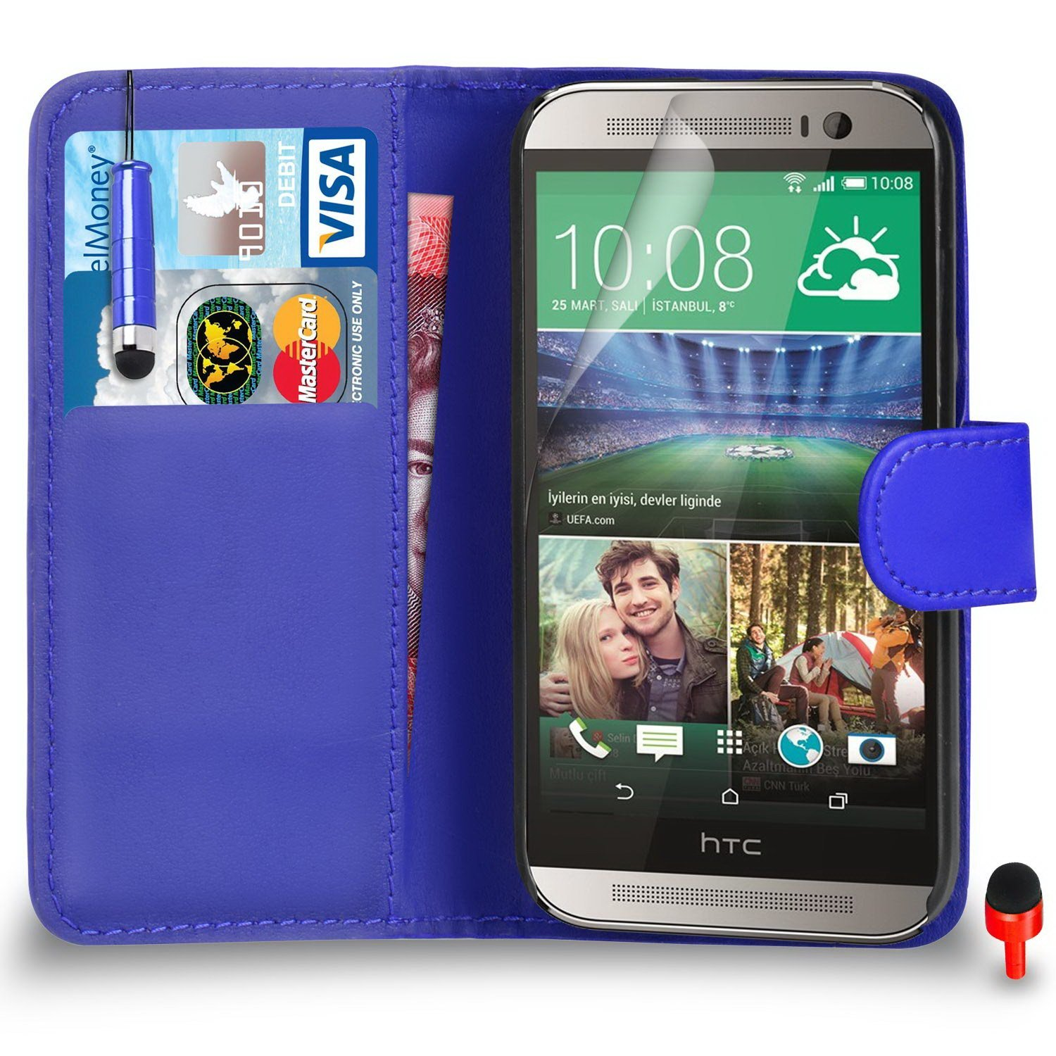 HTC One M8 Premium Leather Blue Wallet Flip Case Cover Pouch + Mini Touch Stylus Pen + Screen Protector & Polishing Cloth SVL1 BY SHUKAN®, (WALLET BLUE)