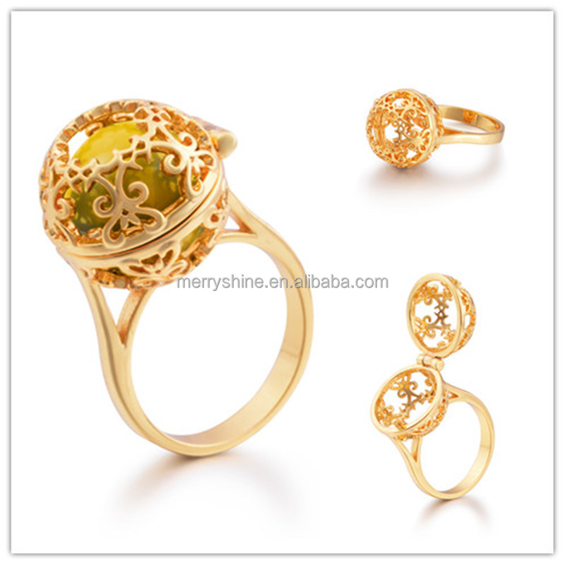 Merryshine High Quality Trendy Gold Ring with Colored Chime Bell for Women Party Ring Size 7 HRI02A04