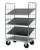 Logistics Trolley galvanized 4 shelves 2 sides 1200mm / 800mm  includes 3 loose shelves
