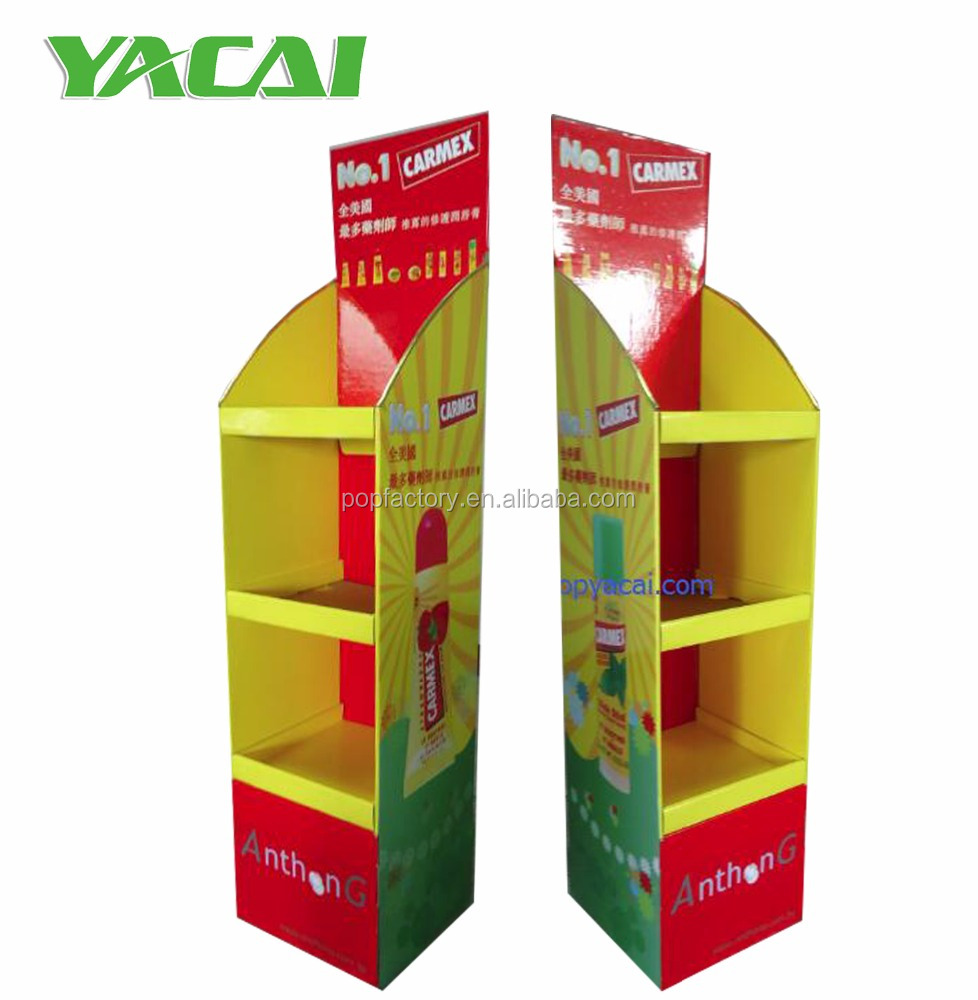 Online store cardboard floor display stand shelf with cover strip
