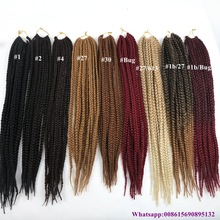 Wholesale 12inch 24inch havana mambo twist crochet braids 12 strands box braid crochet hair for black woman
