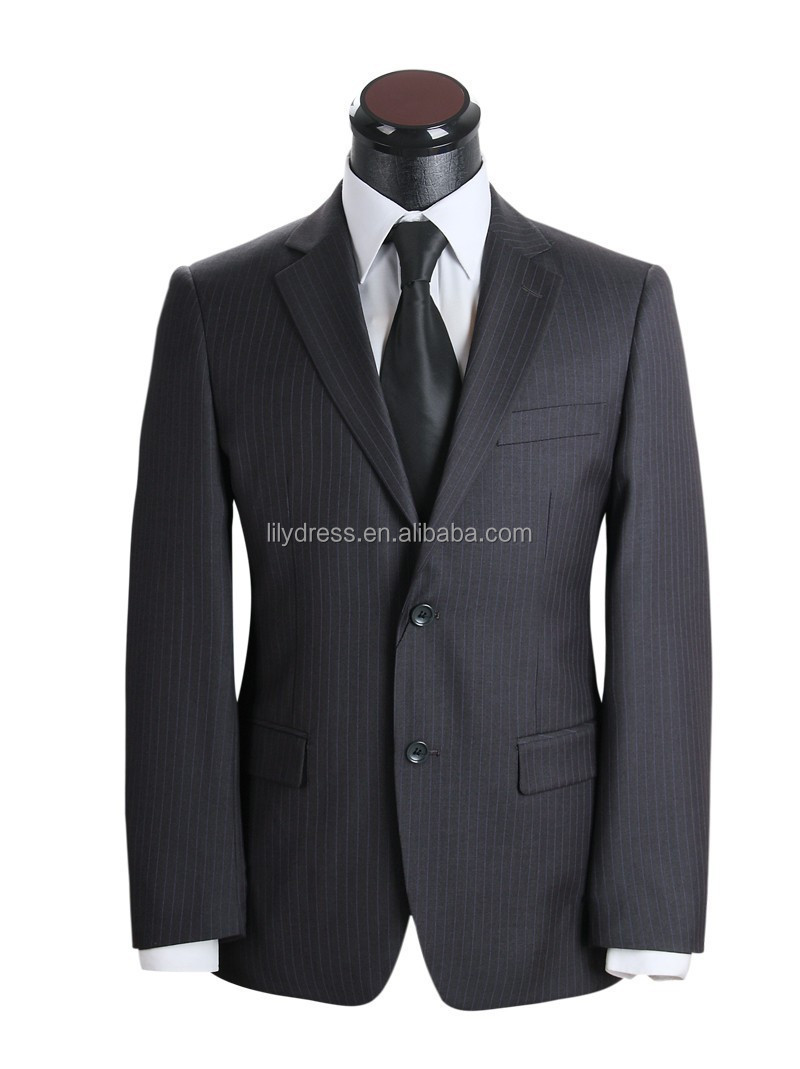 Wholesale Side Vent Two Buttons Tailored Formal Mens Strips Suits