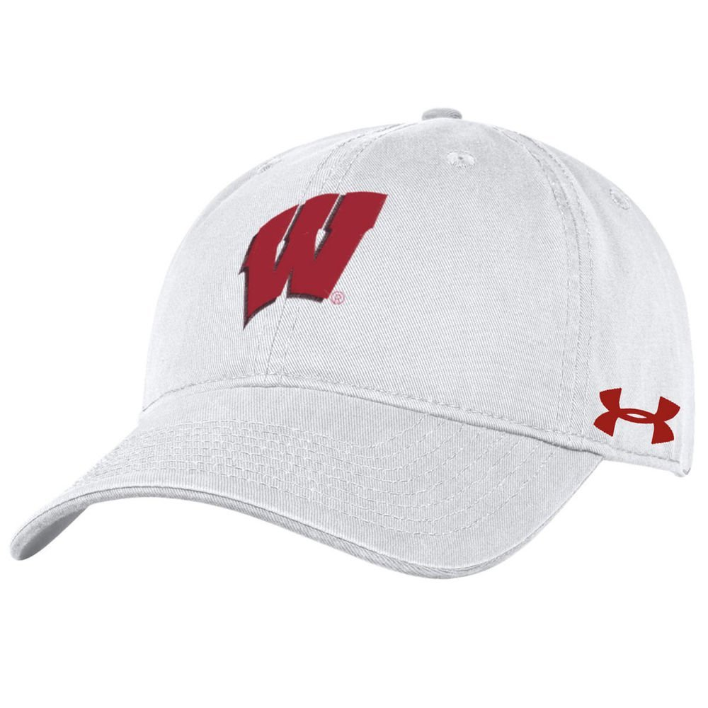 d80b6eea4cb Get Quotations · Wisconsin Badgers Under Armour Washed Twill White  Unstructured Adjustable Hat