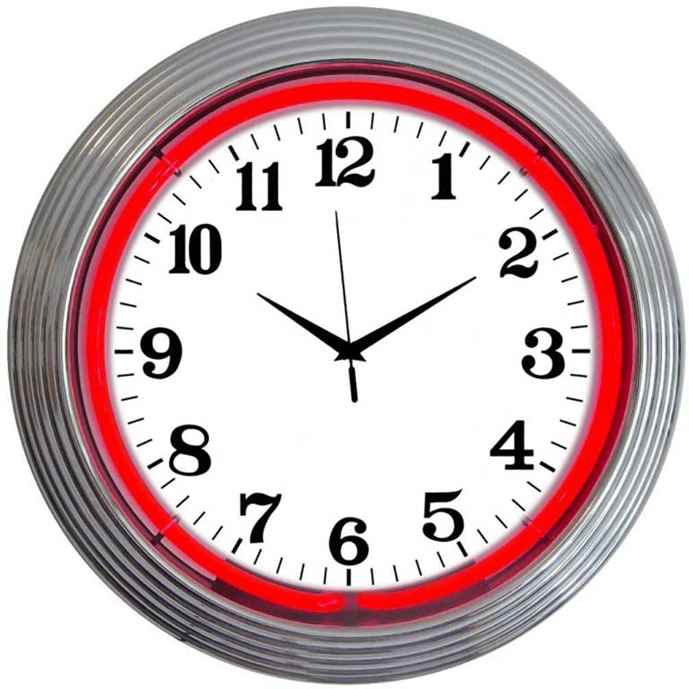 Neonetics Bar and Game Room Neon Alphanumeric Wall Clock with Red Neon and Chrome Rim, 15-Inch