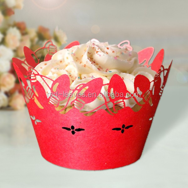 New products pearlized red cupcake wrapper for wedding accoressory