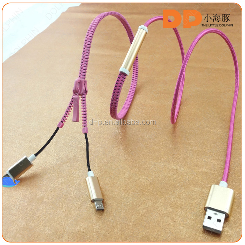 High speed micro usb cable charger charging cable USB 2.0 zipper USB cable with zipper puller