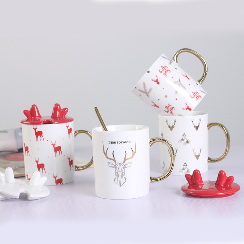 Promotional Christmas antler ceramic mug gold handle cartoons coffee cups