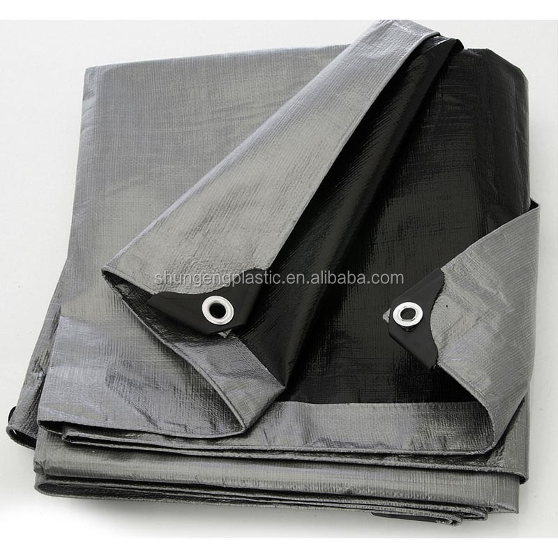 china 60gsm to 360gsm finished PE tarpaulin tarps cover with welding edge and reinforced pp corner and aluminium eyelet every 1m