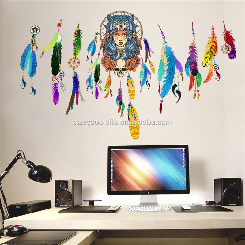 Indian Wolf Headdress Full Color Girls Wall Stickers Living Rooms Tv