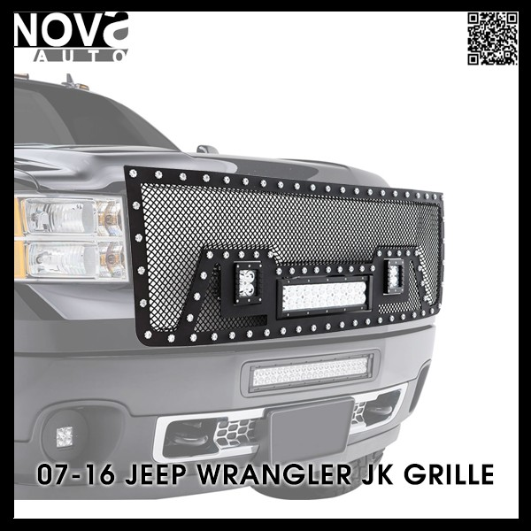 OEM Front Grill Replacement Jeep Wrangler JK Car Grill With LED Headlight