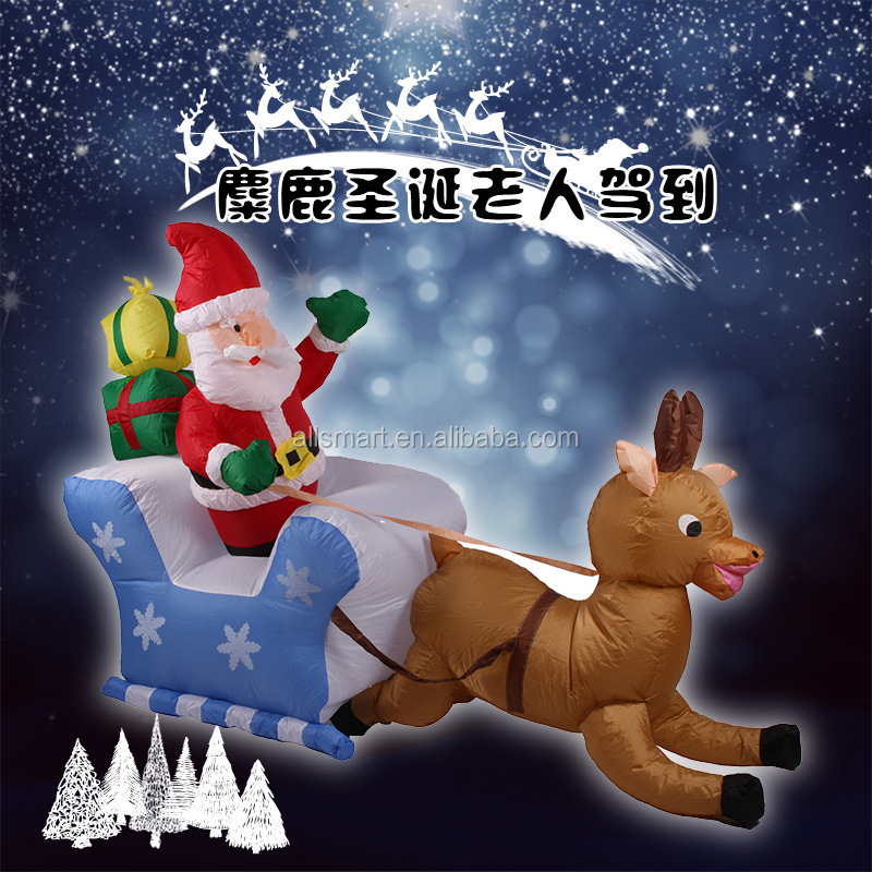 wholesale 2m long inflatable santa with sleigh and reindeer