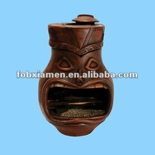 Outdoor bbq clay tiki chimineas