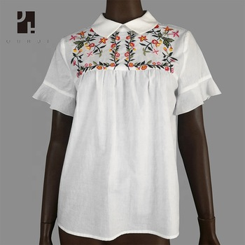 c3ad9deb322 new western embroidery design ladies white shirt cotton tops and blouses