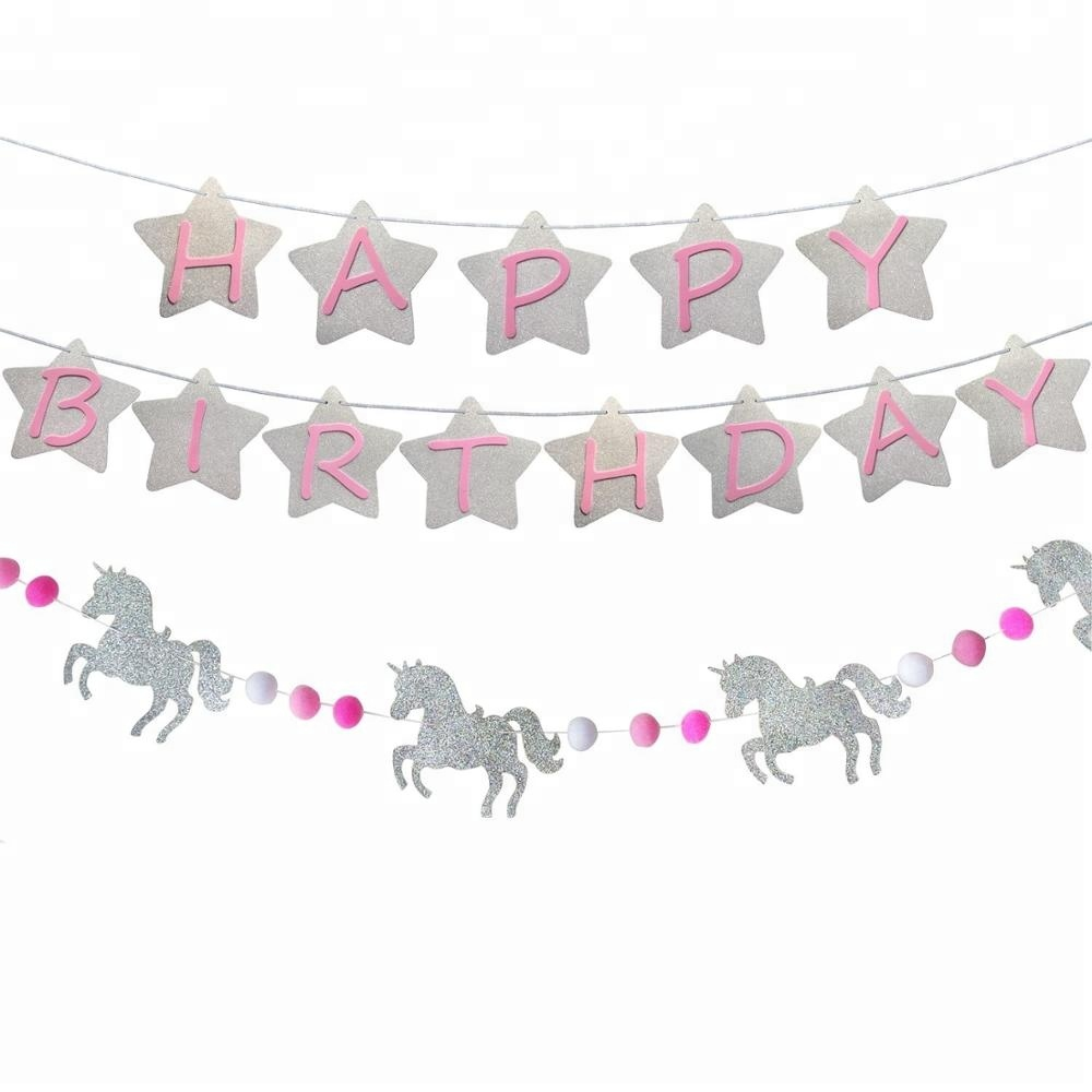 Unicorn Birthday Party Banner Supplies Silver Unicorn And Plush Ball Garl And Set For Kids Party Baby Shower Decoration