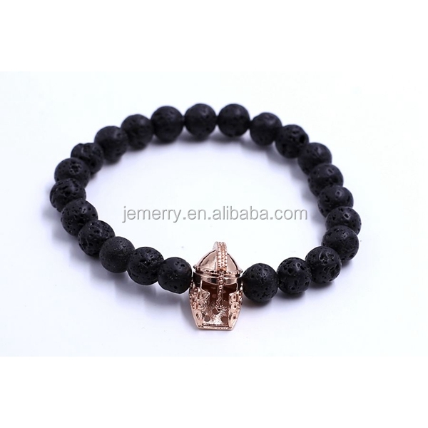 Wholesale Beaded Lava stone beads Gold and Silver Roman Spartan Warrior Helmet Bracelets for Men Gift