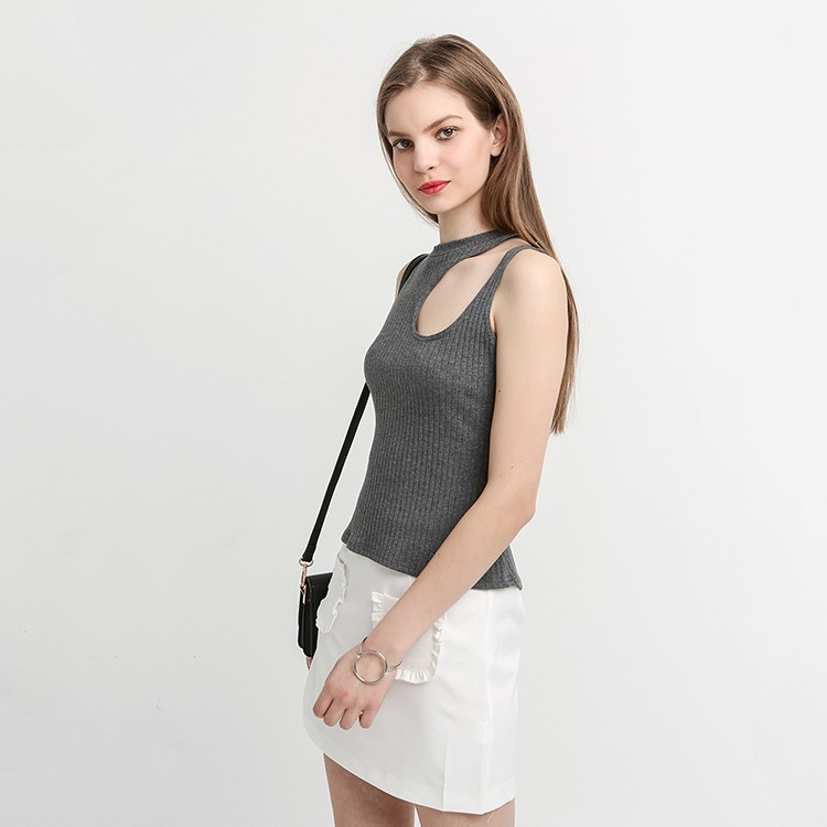 HAODUOYI Asymmetrical Hollow Out Sexy Tops Bustier Straps Tank Elegant Slim Party Club Sleeveless 90's Casual Tops for Wholesale