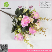 China handmade decoration flower latex real touch hot pink rose , artificial velvet rose flower