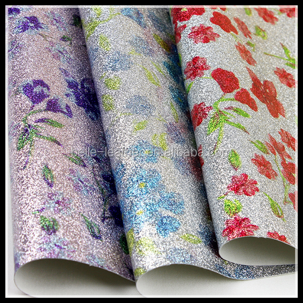 (BY5008)PU Glitter Vinyl Fabric With Small Floral Printed