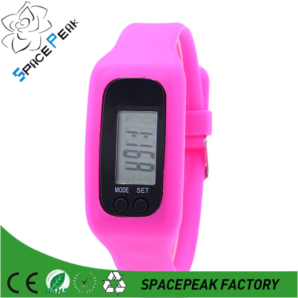 Fitness silicone wristband pedometer/cheap custom logo pedometer/watch pedometer