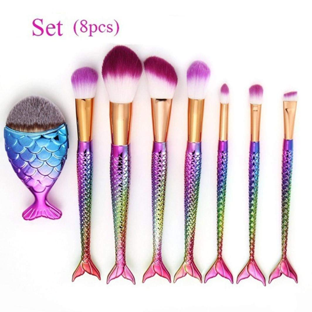 BCDshop Beauty Brushes Set, New Mermaid Make Up Foundation Eyebrow Eyeliner Blush Cosmetic Concealer Brushes Tools Kit (8PCS)