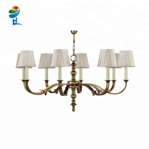 8 lights simple solid brass luminaire American chandelier