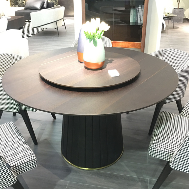 Modern italy designer round wooden dining table set 6 chairs