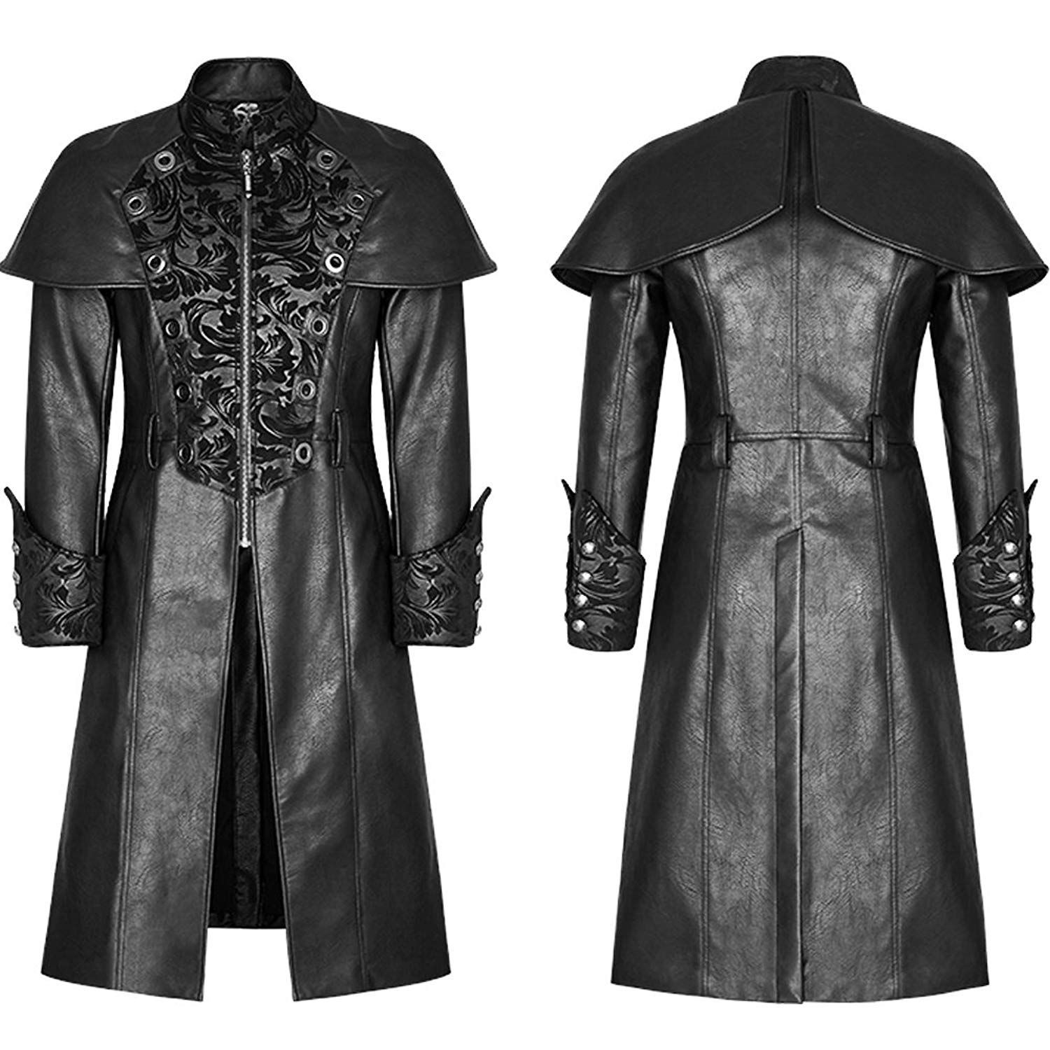 fd6759d1 Get Quotations · Punk Rave Mens Gothic Steampunk Jacket Coat Victorian  Military Style Damask Winter Classic Leather Trench Coat