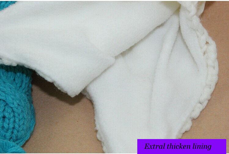 Espesar lana bebé invierno con orejeras Beanie con POM punto gorrita ...