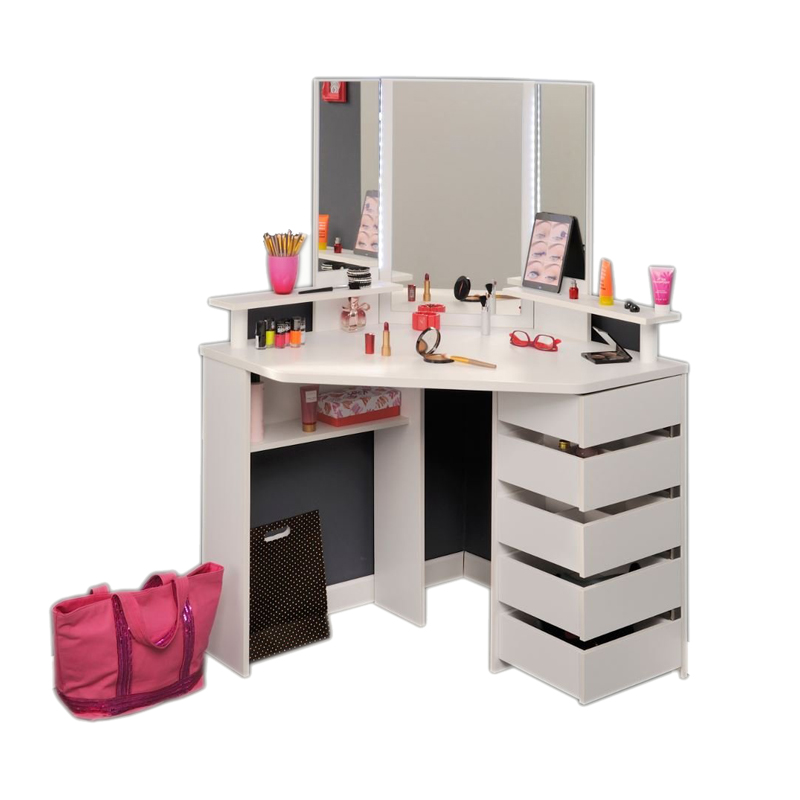 Wholesale Corner wooden furniture dressing table with Lights and Mirror