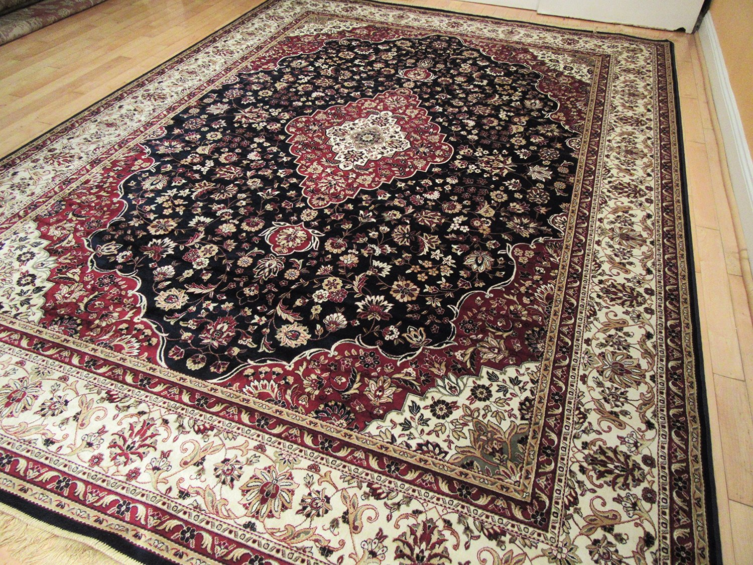 Buy Large Luxury Silk Traditional Rug For Living Room Navy Red