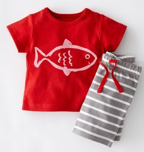 High quality cheap price baby kleding boys clothes sets printed T shirt and stripe shorts 2 pcs set