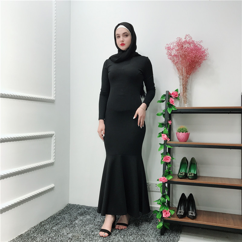 Latest fashion elegant long sleeves muslim thick spandex+polyester women slim undre dress abaya dubai