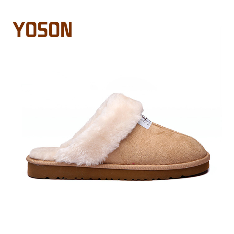 Cheap wholesale micro suede rubber sole warm fur indoor outdoor winter <strong>slippers</strong> for women