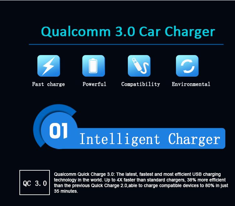 Cantonfair Sıcak Satış Qualcomm QC 3.0 araç şarj adaptörü 2 port usb araç şarj hızlı şarj 3.0