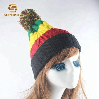 J461 Jamaican Rasta Hat Multi-colour Striped Beanie Slouchy Bobble ... 8146e0461cb5