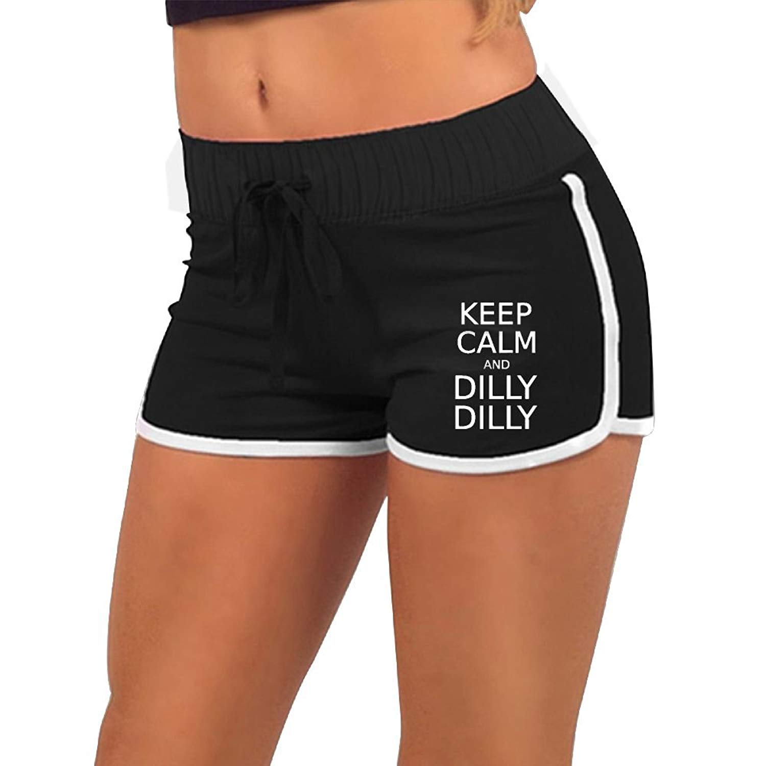 Womens Sexy Hot Pants Keep Calm and Dilly Dilly Torso Silhouette Dance Yoga Festivals Shorts