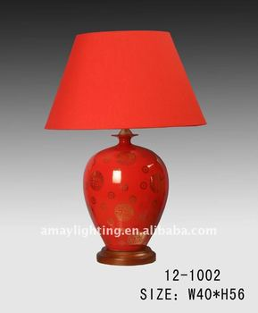 Handmade Red Fabric Shade And Base Ceramic Table Lamp