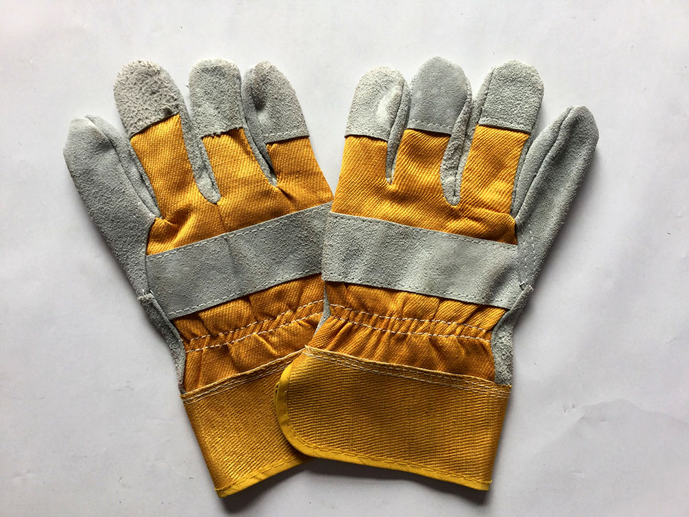 yellow leather work <strong>gloves</strong> , AB/BC double palm and reinforced pg split leather working <strong>gloves</strong> manufacturer in China
